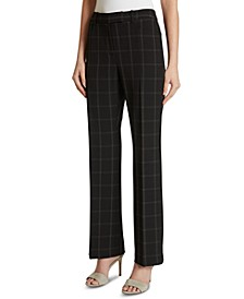 Plaid Mid-Rise Dress Pants