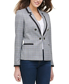 Plaid Faux Double-Breasted Piped Blazer
