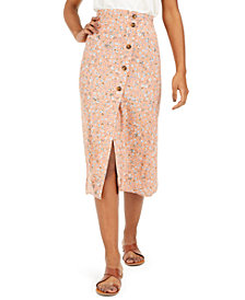 Ultra Flirt Juniors' Floral-Print Midi Skirt