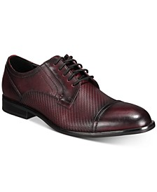 Men's Sullivan Textured Leather Cap-Toe Oxfords, Created for Macy's
