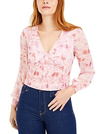Floral-Print Smocked-Waist Top, Created for Macy's