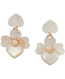 Gold-Tone Pavé Flower Clip-On Drop Earrings