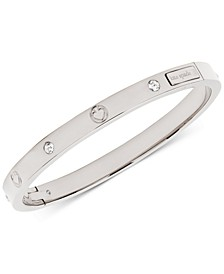 Cubic Zircona & Engraved Spade Bangle Bracelet