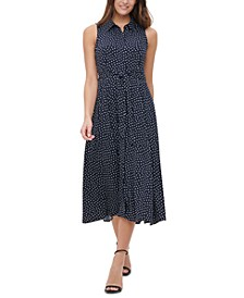 Dot-Print Twill Midi Shirtdress