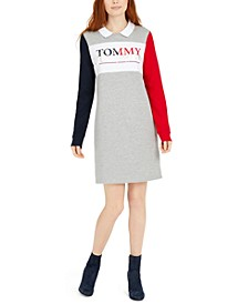 Polo-Collar Colorblocked Dress