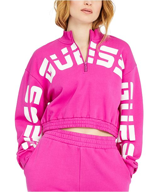 GUESS ECO Amber Cropped Logo Sweatshirt