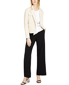INC Faux-Leather Moto Jacket, Cotton Top & Wide-Leg Utility Pants, Created for Macy's