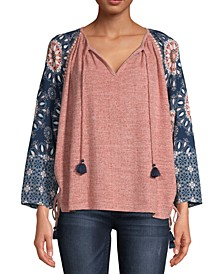 Printed-Sleeve Top