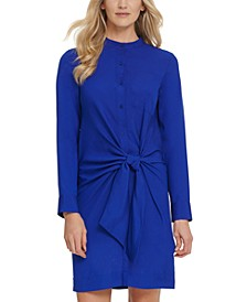 Front-Tie Button-Up Dress