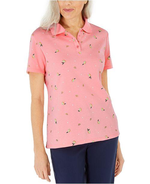 Karen Scott Lemon Dot Printed Polo Shirt, Created For Macy's