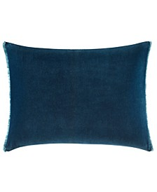 Blurr Dark Blue Velvet Fringed Throw Pillow