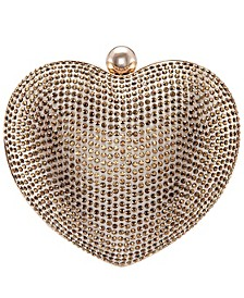 Amorie Crystal Embellished Heart Minaudiere Clutch