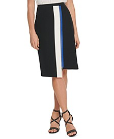 Colorblock Asymmetric Pencil Skirt