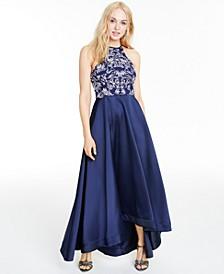 Juniors' Glitter Halter High-Low Dress