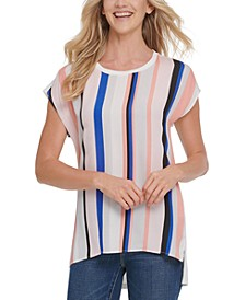 Stripe-Front Mixed Media Tunic