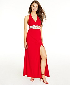 Juniors' Embellished Halter Gown