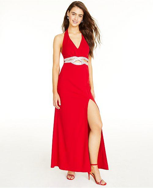 Speechless Juniors' Embellished Halter Gown