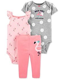 Baby Girls 3-Pc. Cotton Flamingo Bodysuits & Pants Set