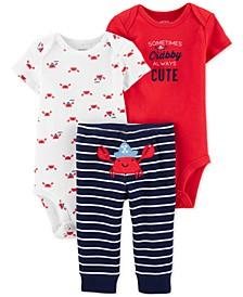 Baby Boys 3-Pc. Cotton Crab Bodysuits & Striped Pants Set