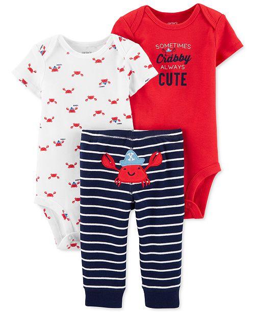 Carter's Baby Boys 3-Pc. Cotton Crab Bodysuits & Striped Pants Set