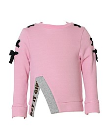 Toddler, Little, and Big Girls Fleece Pullover with Tie Detail
