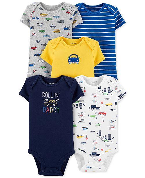 Carter's Baby Boys 5-Pk. Cars Cotton Bodysuits