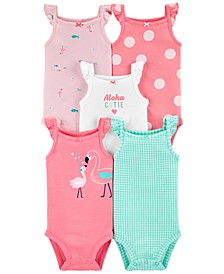 Baby Girls 5-Pk. Printed Flutter Tank Cotton Bodysuits