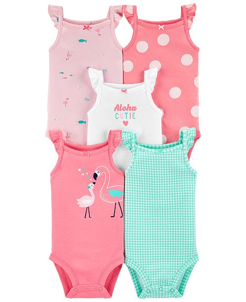 Carter's Baby Girls 5-Pk. Printed Flutter Tank Cotton Bodysuits