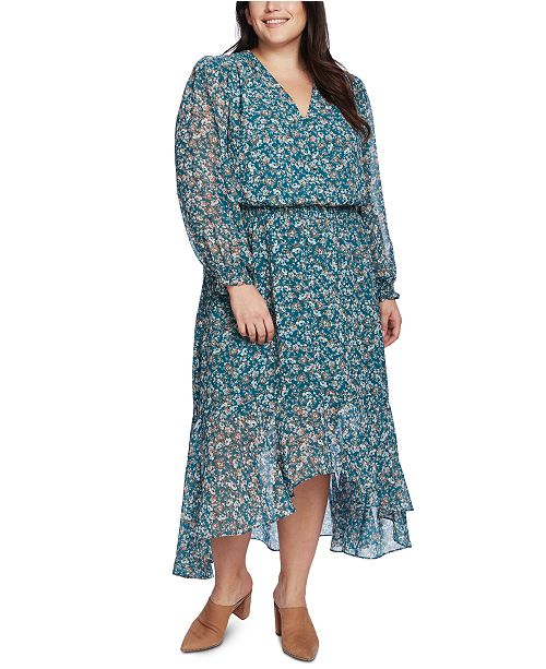1.STATE Trendy Plus Size Floral High-Low Dress