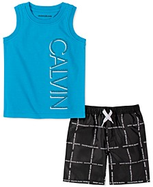 Little Boys 2-Pc. Logo Tank Top & Logo-Grid Swim Shorts Set