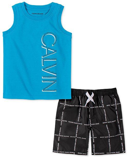 Calvin Klein Toddler Boys 2-Pc. Logo Tank Top & Logo-Grid Swim Shorts Set