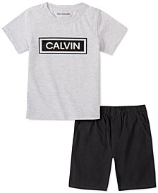 Little Boys 2-Pc. Logo T-Shirt & Twill Shorts Set