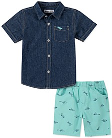 Little Boys 2-Pc. Blue Chambray Dino-Pocket Shirt & Green Dino-Print Twill Shorts Set