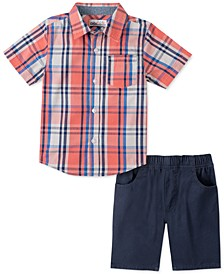 Little Boys 2-Pc. Red Yarn-Dyed Plaid Shirt & Navy Blue Twill Shorts Set