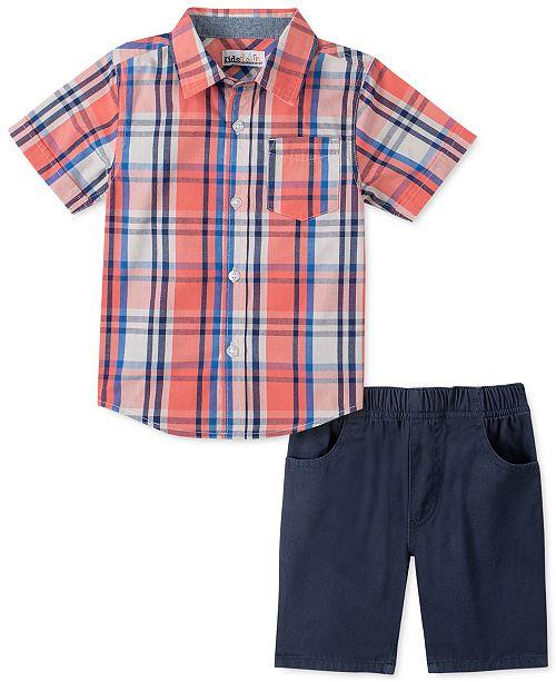 Kids Headquarters Little Boys 2-Pc. Red Yarn-Dyed Plaid Shirt & Navy Blue Twill Shorts Set