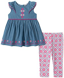Little Girls 2-Pc. Chambray Flower Tunic & Printed Leggings Set