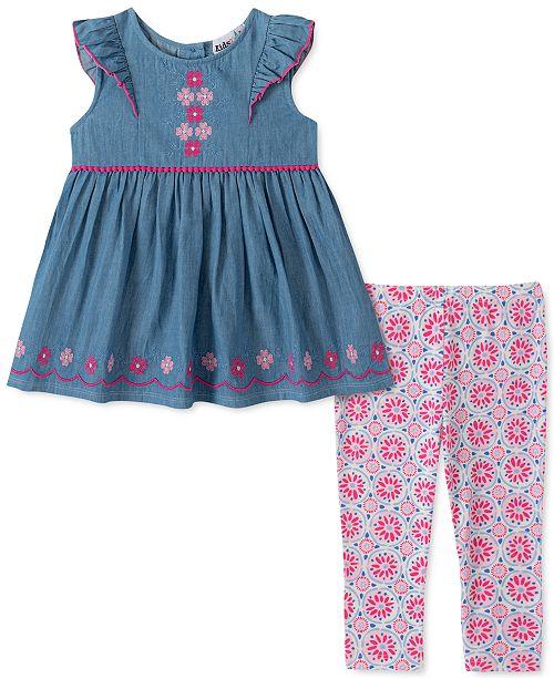 Kids Headquarters Little Girls 2-Pc. Chambray Flower Tunic & Printed Leggings Set