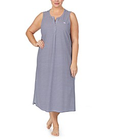 Plus Size Striped Knit Ballet Nightgown