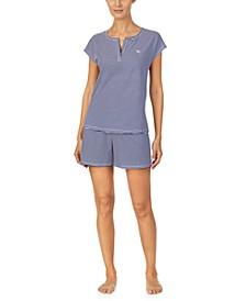 Short Sleeve Top & Boxer Shorts Pajama Set