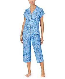 로렌 랄프로렌 파자마 세트 Lauren Ralph Lauren Short Sleeve Top & Capri Pajama Set