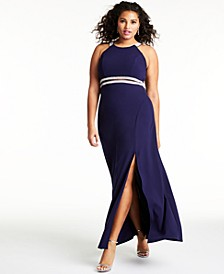 Trendy Plus Size Embellished Halter Gown, Created for Macy's