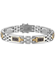 "Men's 1 Carat Brown and White Diamond 8 3/4"" Bracelet in Sterling Silver and 10k Yellow Gold"