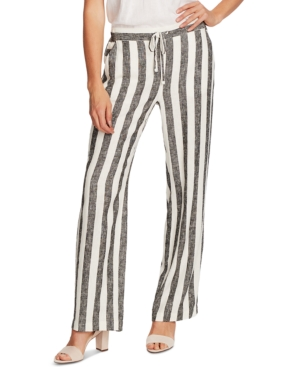 Vince Camuto Striped Drawstring Pants, In Regular And Petite In Rich Black