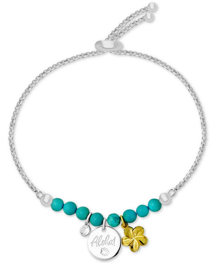 Kona Bay - Aloha Charm Imitation Turquoise Slider Bracelet in Fine-Silver Plate