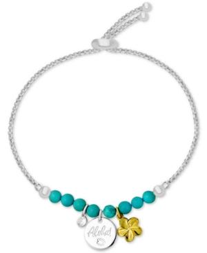 Aloha Charm Imitation Turquoise Slider Bracelet in Fine-Silver Plate