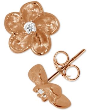 Flower Stud Earrings in Rose Gold-Plate