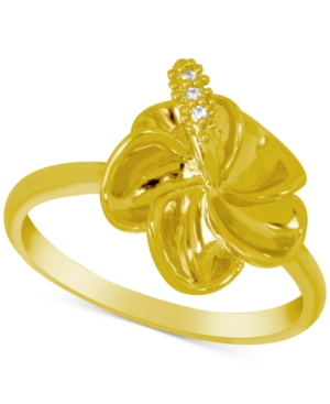 Crystal Accent Flower Ring in Gold-Plate
