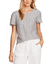 Linen Striped Frayed-Edge Top