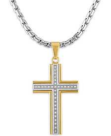 "Men's 1/6 Carat Diamond Cross Pendant 22"" Chain in Stainless Steel and Gold Tone Ion Plating"