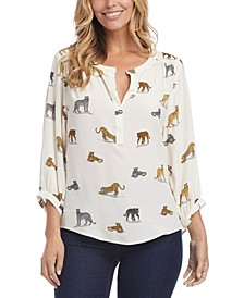 3/4-Sleeve Animal Print Blouse